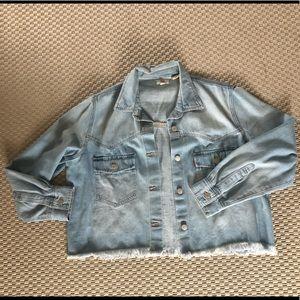 Levi's cropped frayed light wash denim jacket.